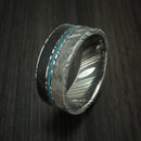 Kuro Damascus Steel Black Dinosaur Bone and Gibeon Meteorite Ring with Turquoise Inlay Custom Made Fossil Band