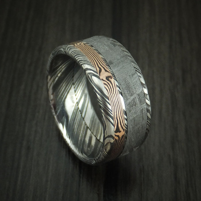 Kuro Damascus Steel Band with Gibeon Meteorite and Rose Gold Mokume Shakudo Custom Made Ring