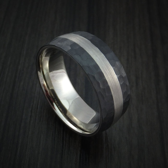 Black Zirconium Hammered Ring with 14K White Gold Sleeve and Platinum Inlay Custom Made Wedding Band
