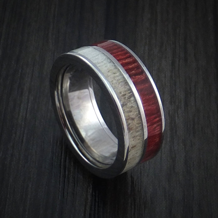 Titanium Ring with Red Heart Wood and Antler Inlays Custom Made