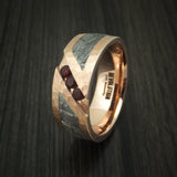 14K Rose Gold and Meteorite Hammered Band with Garnets Custom Made