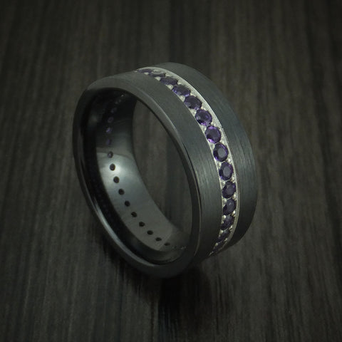 Black Zirconium Ring with Eternity Channel Set Amethyst Custom Made Band