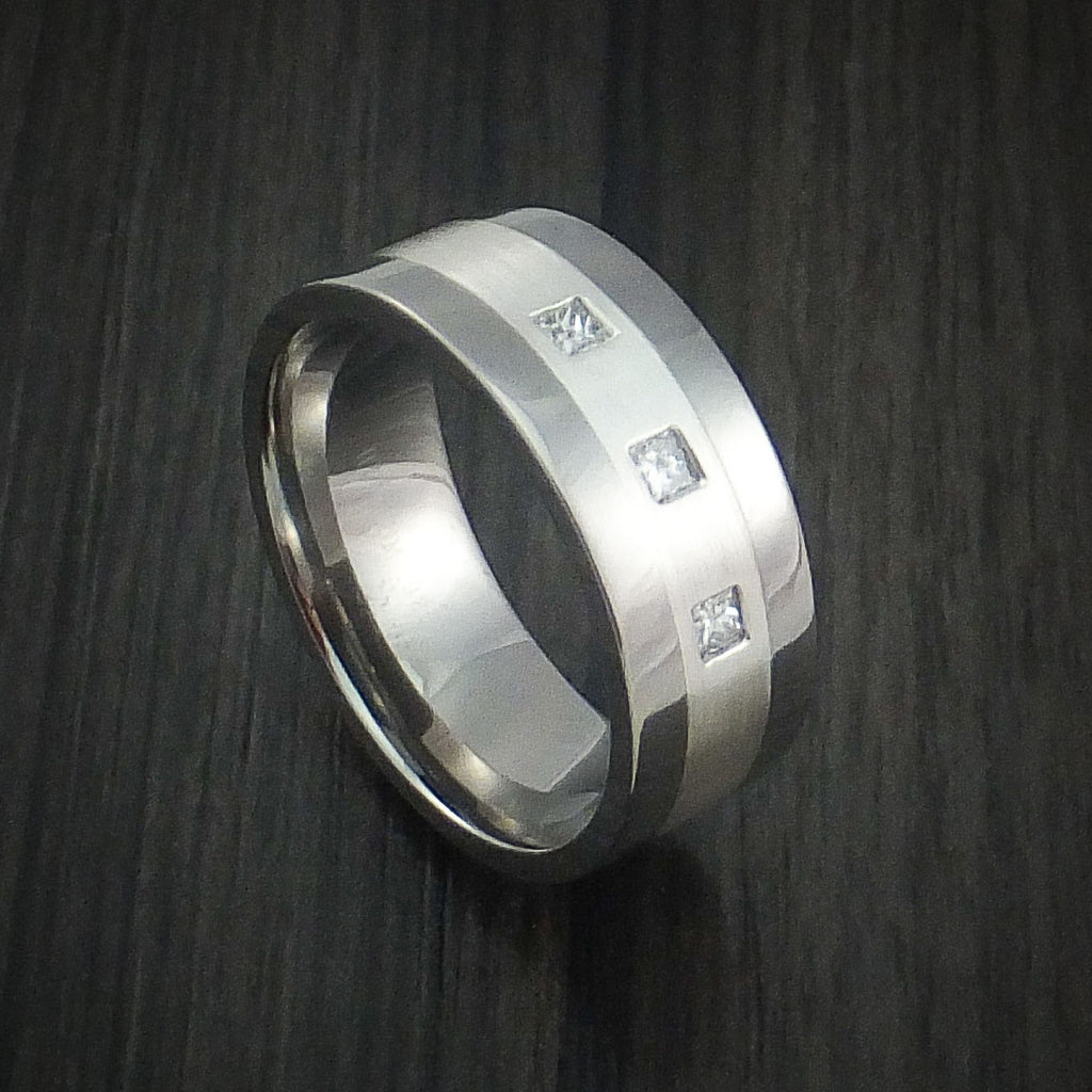 Titanium Ring with Silver Inlay and Princess Cut Diamonds Custom Made Wedding Band
