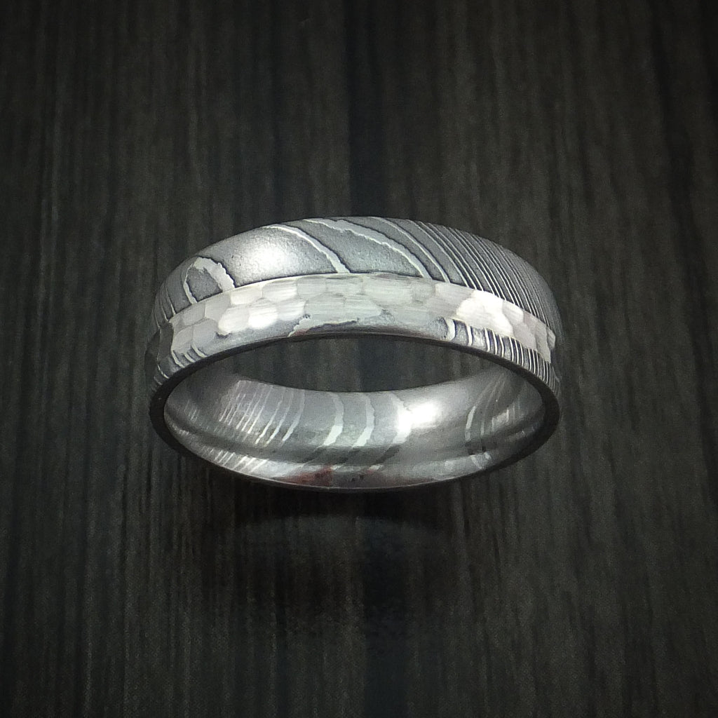 Damascus Steel and Hammered Platinum Ring Custom Made Wedding Band