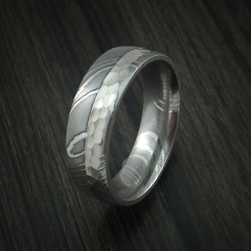 Damascus Steel and Hammered Palladium Ring Custom Made Wedding Band