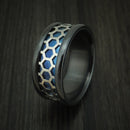 Black Zirconium Band with Anodized Titanium Honeycomb Inlay Custom Made Ring