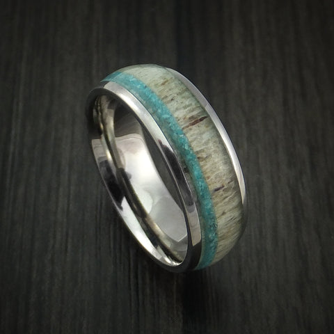 Titanium and Antler Ring with Turquoise Custom Made Ring