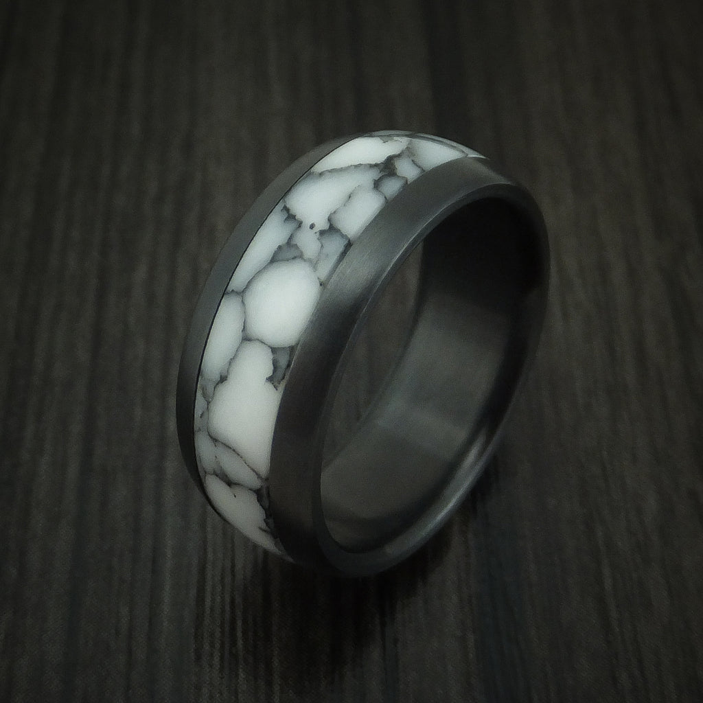 Black Zirconium Ring with White Marble Inlay Custom Made Band