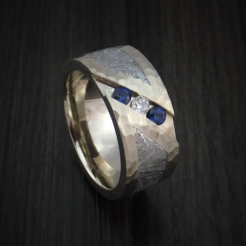 White Gold and Meteorite Hammered Band with Diamond and Sapphires Custom Made