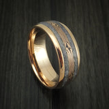18k Rose Gold and Gibeon Meteorite Ring with Rose Gold Mokume Shakudo Inlay Custom Made Band