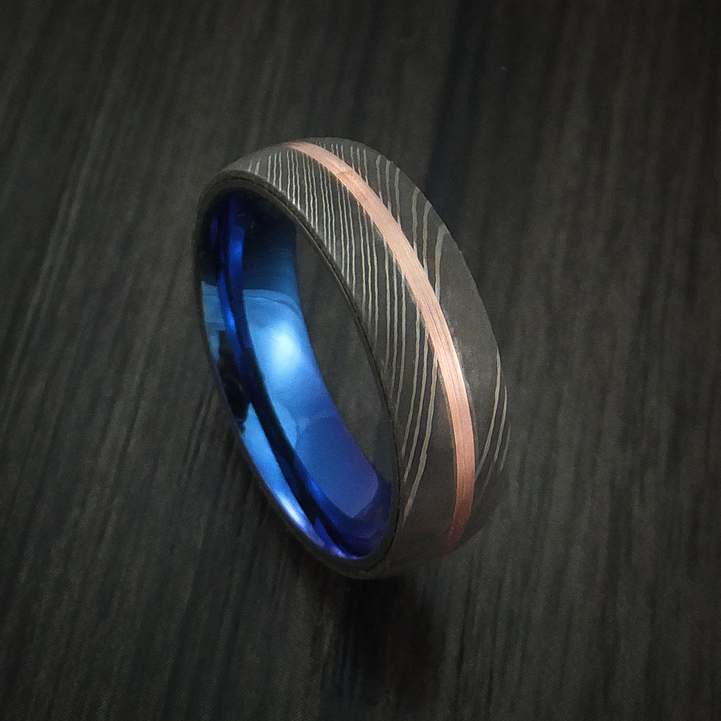 Damascus Steel Ring with Copper Inlay and Anodized Titanium Interior Sleeve Custom Made Band