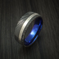 Damascus Steel and Palladium Mokume Gane Ring with Anodized Titanium Sleeve Custom Made