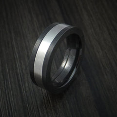 Black Zirconium and Cobalt Chrome Ring Custom Made Wedding Band