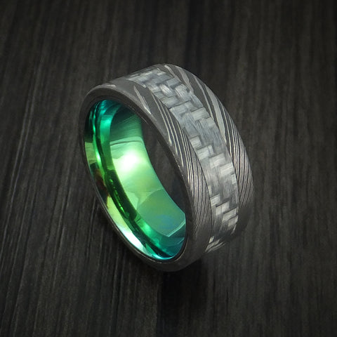 Damascus Steel and Carbon Fiber Ring Custom Made Band with Anodized Interior