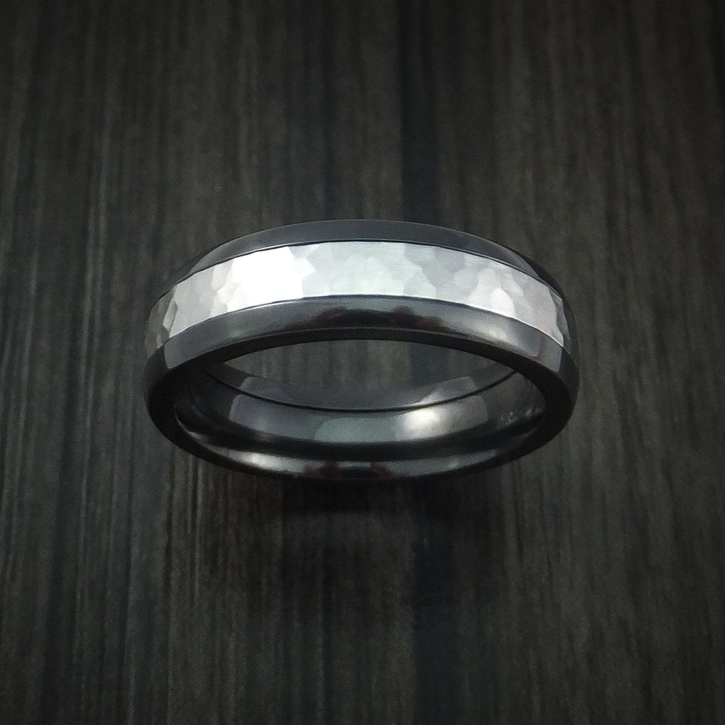 Black Zirconium and Hammered Cobalt Chrome Ring Custom Made Wedding Band