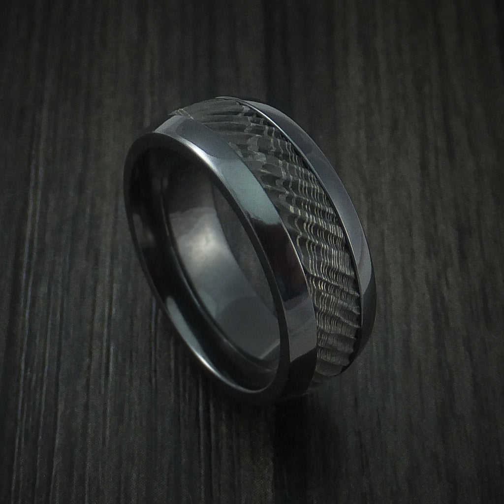 Black Zirconium and Damascus Steel Ring with Tree Bark Carved Band Custom Made