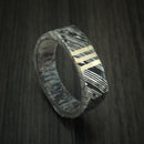 Kuro Damascus Steel Rock Hammered Squared Ring with 14K Yellow Gold Vertical Inlays and Antler Sleeve Custom Made