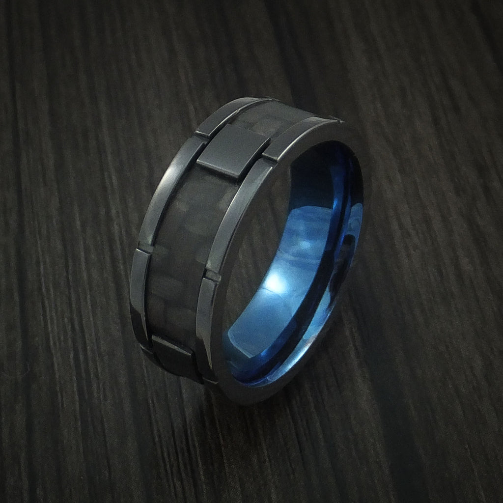 Black Zirconium and Carbon Fiber Weave Pattern Ring with Anodized Interior Custom Made