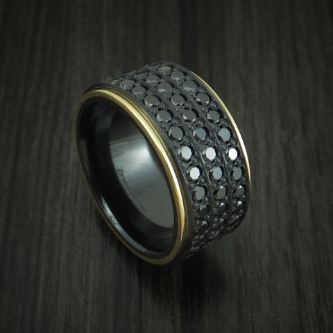 Black Zirconium Ring with 18K Yellow Gold and 44 Beautiful Black Diamonds Custom Made Band