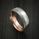 Damascus Steel and Mokume Gane Ring with 14k Rose Gold Sleeve Wedding Band Custom Made