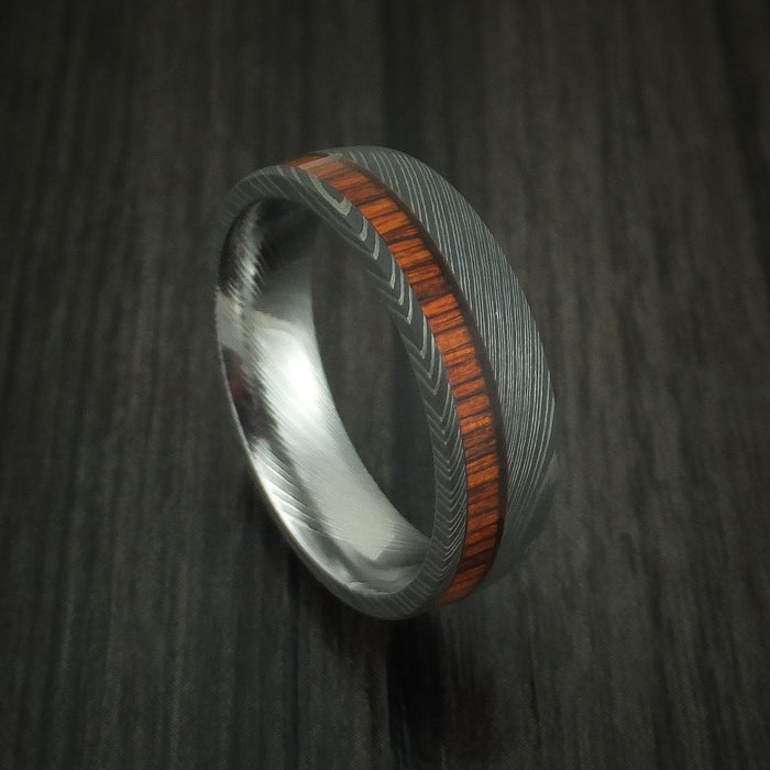 Damascus Steel Ring Inlaid With COCOBOLO Custom Made Band