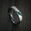 Black Zirconium Ring with Palladium and Silver Mokume and Sapphires