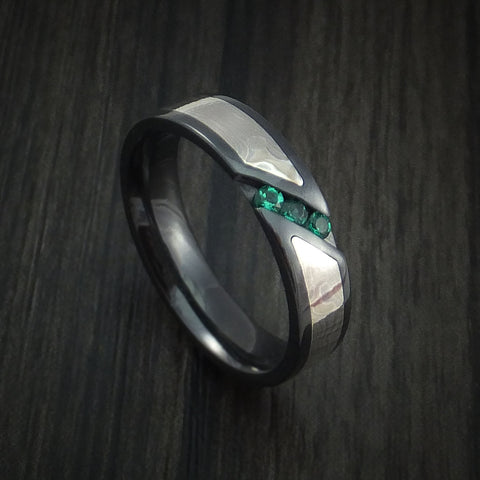 Black Zirconium Ring with White Gold Mokume and Sapphires