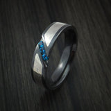 Black Zirconium Ring with White Gold Mokume and Blue Sapphires