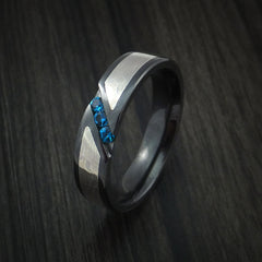 Black Zirconium Ring with White Gold Mokume and Blue Sapphires by Revolution Jewelry
