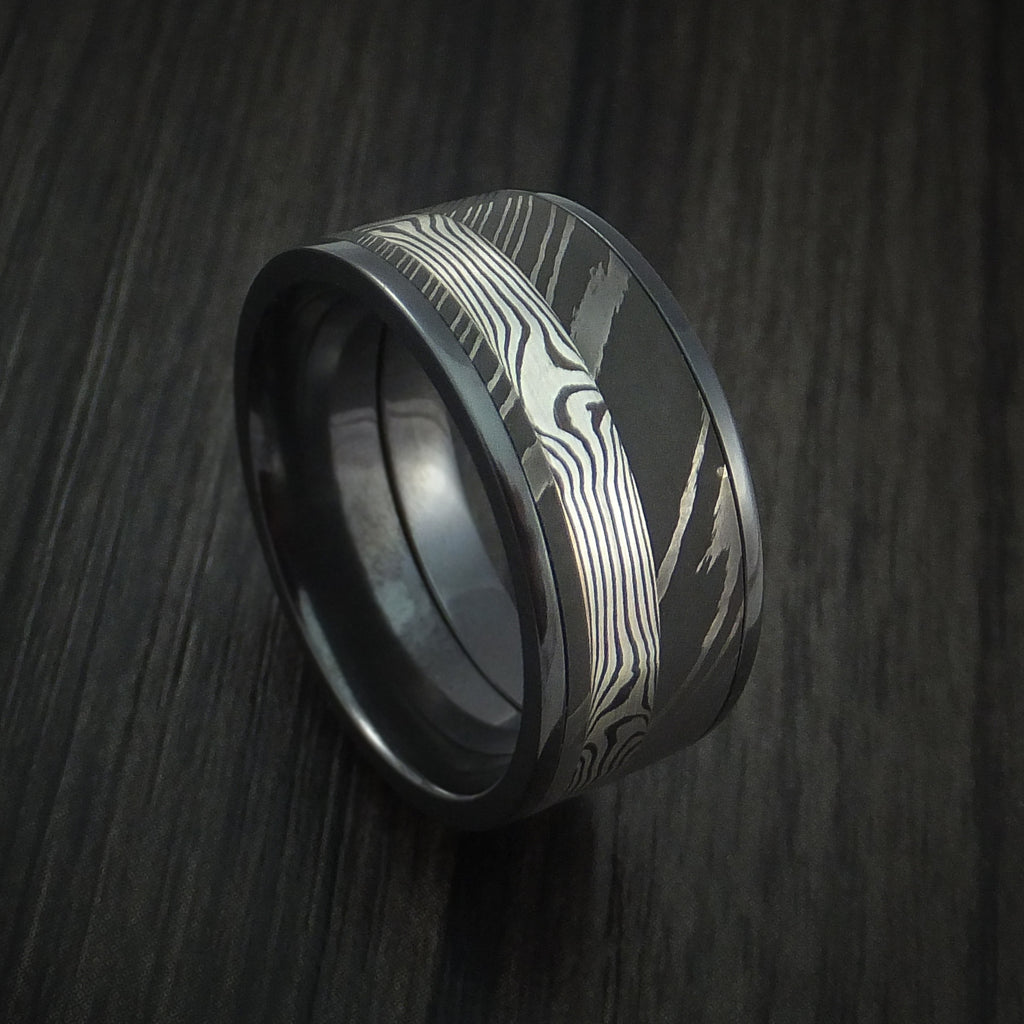 Black Zirconium and Damascus Steel Band with Silver Mokume Gane Shakudo Custom Made Ring by Revolution Jewelry