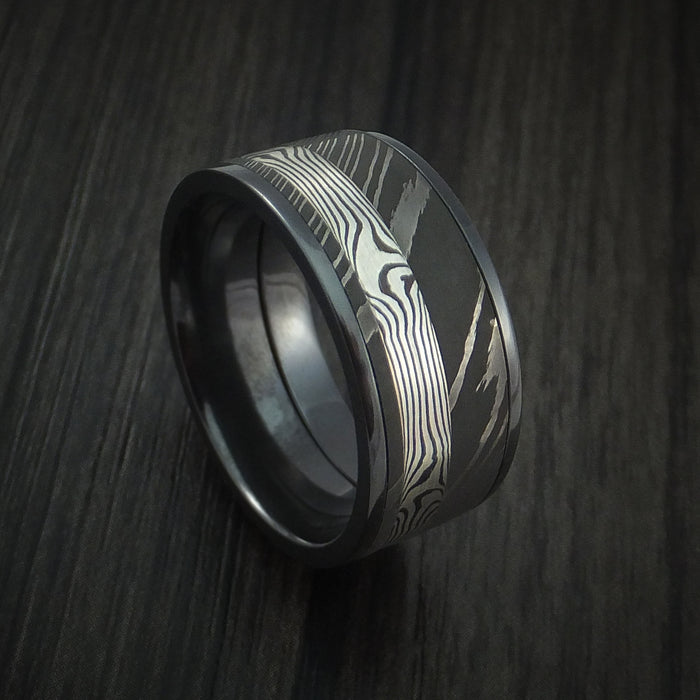 Black Zirconium and Damascus Steel Band with Silver Mokume Gane Shakudo Custom Made Ring
