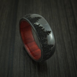 Black Zirconium Ring with Tree Design and Hardwood Sleeve Custom Made Band Men's Wedding Ring