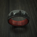 Black Zirconium Ring with Tree Design and Hardwood Sleeve Custom Made Band