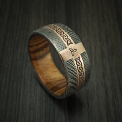 Damascus Steel Celtic Ring With 14K Rose Gold and Hardwood Sleeve Custom Made