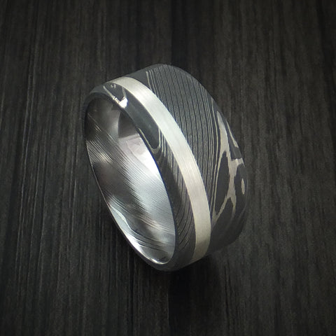Damascus Steel and Silver Inlay Ring Custom Made Band