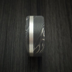 Damascus Steel and Silver Inlay Ring Custom Made Band - Revolution Jewelry  - 3