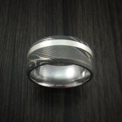 Damascus Steel and Silver Inlay Ring Custom Made Band - Revolution Jewelry  - 2