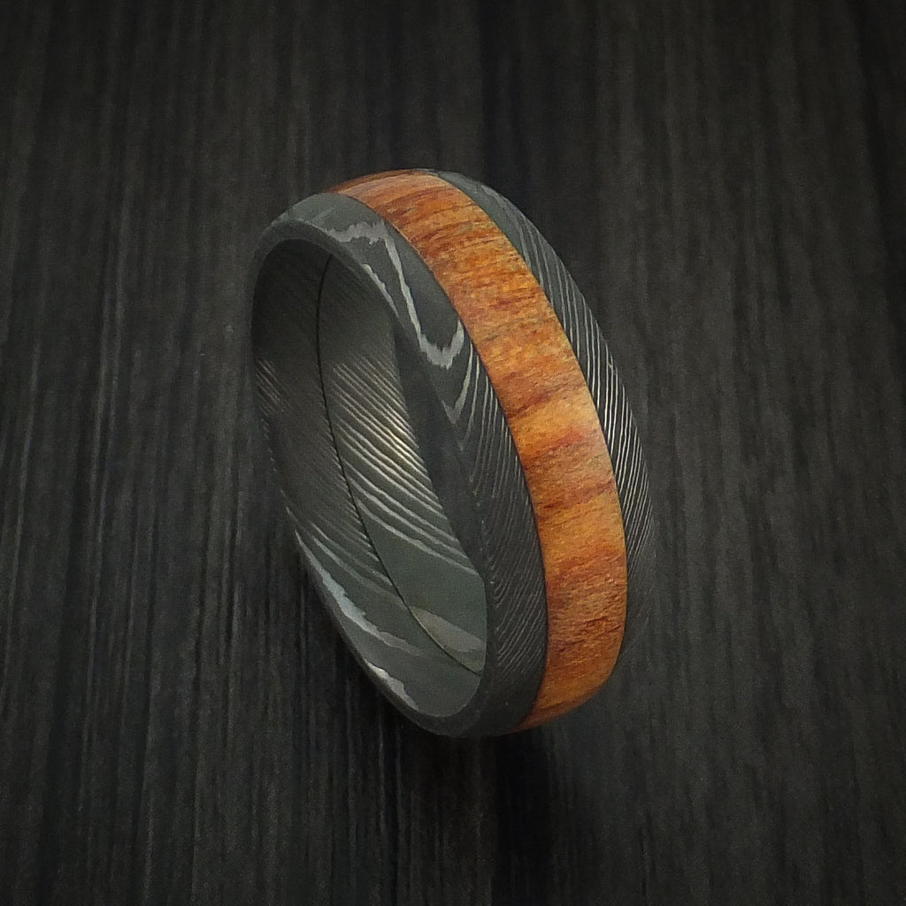 Wood Ring and DAMASCUS Ring inlaid with FIJI ORANGE HARDWOOD Custom Made