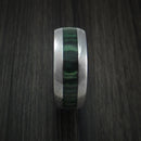 Wood Ring and Damascus Steel Ring inlaid with JADE HARDWOOD Custom Made