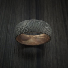 Damascus Steel Ring with Maple Burl Hardwood Interior Sleeve Custom Made