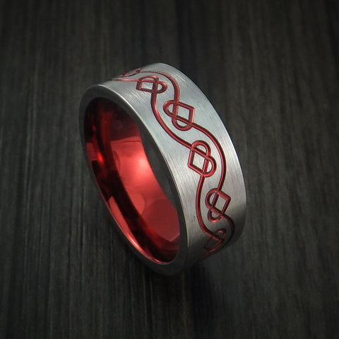 Titanium Celtic Heart Ring with Anodized Sleeve Custom Made Band