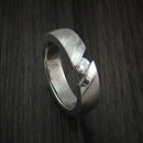 Titanium Tension Set Moissanite Ring with Platinum Inlays Custom Made Wedding Band