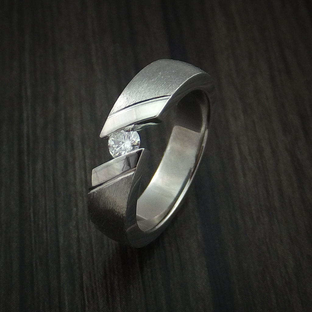 Titanium Tension Set Moissanite Ring with Palladium Inlays Custom Made Wedding Band
