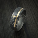 Damascus Steel Ring with 14k Yellow Gold Inlay and Christian Cross Custom Made Band
