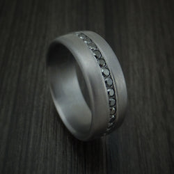 Tantalum Band with Satin Finish and Black Diamonds Custom Made Ring by Benchmark