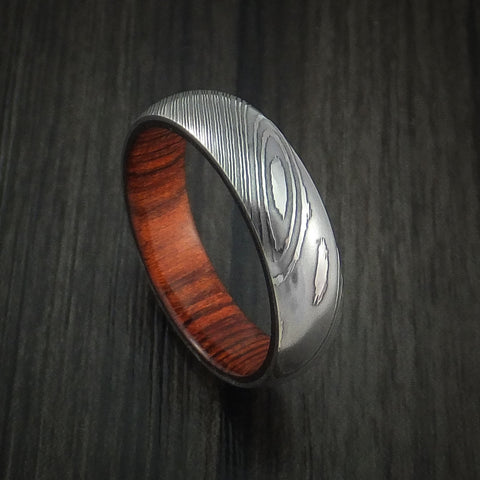 Damascus Steel Ring with Cocobolo Hardwood Interior Sleeve Custom Made