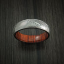 Damascus Steel Ring with Hardwood Interior Sleeve Custom Made