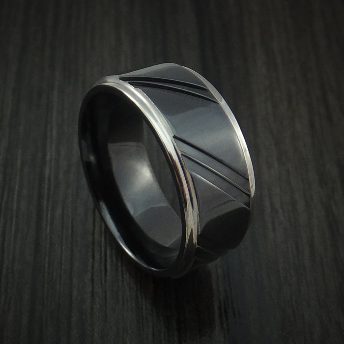 Black Zirconium Ring with Diagonal Grooves Custom Made Band
