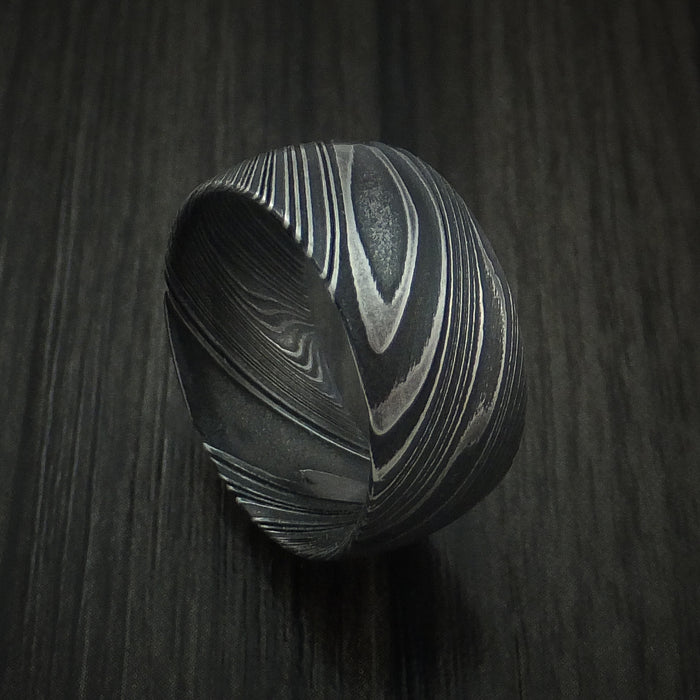 Kuro Damascus Steel Ring Wide Wedding Band Genuine Craftsmanship Custom Made