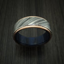Kuro Damascus Steel Ring With 14K Rose Gold Edges and Wood Sleeve Custom Made Band